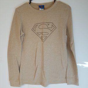 DC Comics Superman Emblem Tan Long Sleeve Size XL